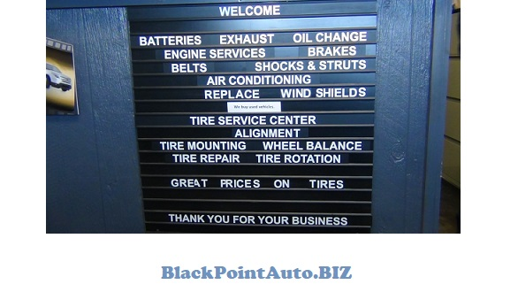 Black Point Auto & Towing - desk sign